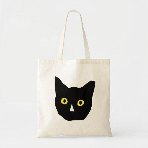 cat head black yellow eyes cartoon budget tote bag