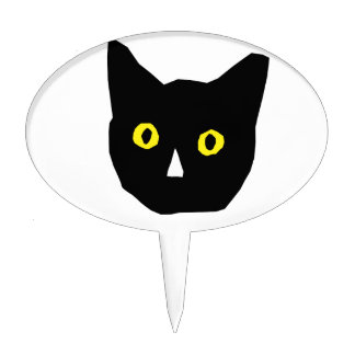 cat head black yellow eyes cartoon cake topper