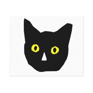 cat head black yellow eyes cartoon canvas print