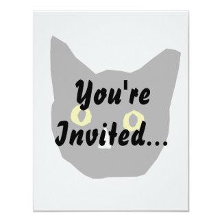cat head black yellow eyes cartoon card