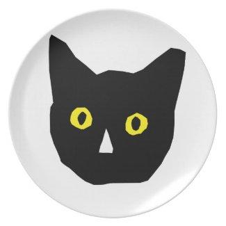 cat head black yellow eyes cartoon dinner plate