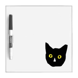 cat head black yellow eyes cartoon Dry-Erase board