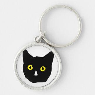 cat head black yellow eyes cartoon key chain