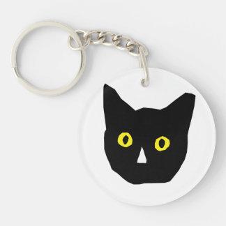 cat head black yellow eyes cartoon Double-Sided round acrylic keychain