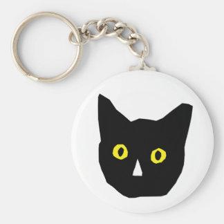 cat head black yellow eyes cartoon keychain
