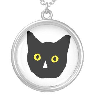 cat head black yellow eyes cartoon round pendant necklace