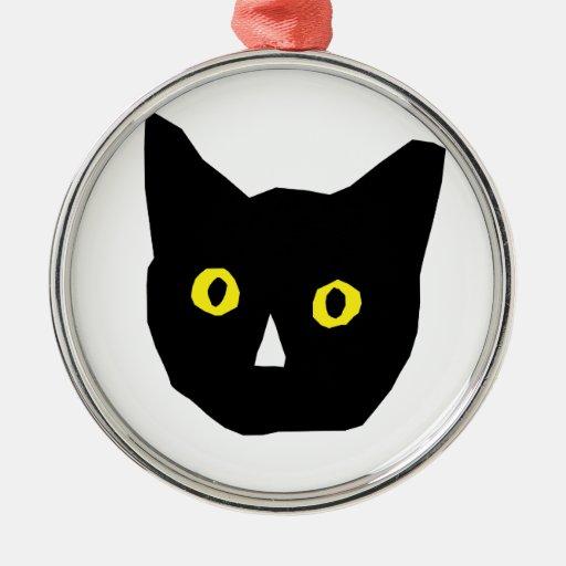 cat head black yellow eyes cartoon round metal christmas ornament