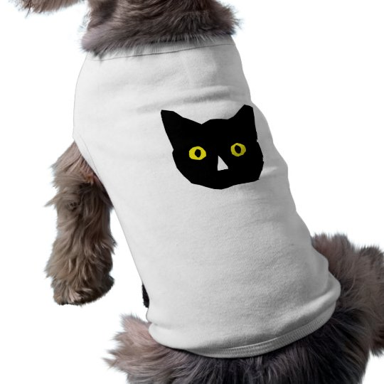cat head black yellow eyes cartoon T-Shirt