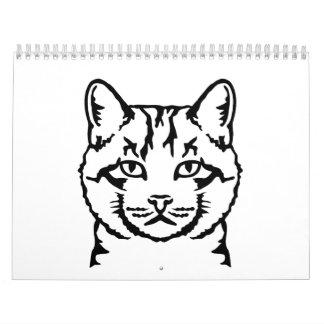 Cat head face wall calendar