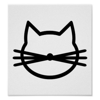 Cat head face poster