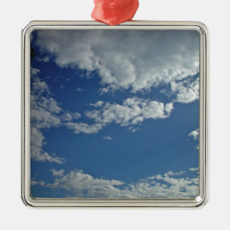 Cat-head shaped piece of sky between clouds christmas ornaments