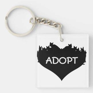 Cat Heart ADOPT Keychain