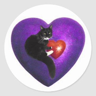 Cat Heart Classic Round Sticker