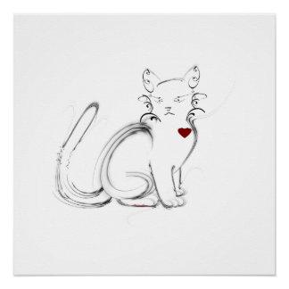 Cat Heart Poster