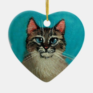 Cat Heart-Shaped Christmas or Valentine Ceramic Ornament