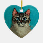Cat Heart-Shaped Christmas or Valentine Double-Sided Heart Ceramic Christmas Ornament