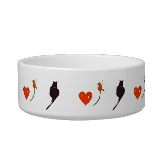 Cat Hearts and Roses Pet Bowl