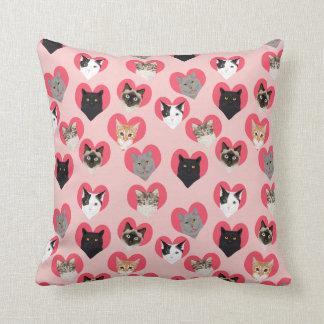Cat Hearts - love cats pillow