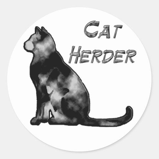 Cat Herder Round Stickers