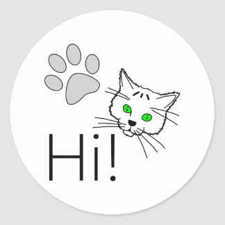 Cat - Hi! Classic Round Sticker