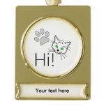 Cat - Hi! Gold Plated Banner Ornament