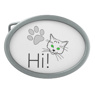 Cat - Hi! Oval Belt Buckle
