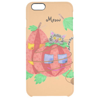 Cat hiding behind pumpkins orange iPhone 6 plus Clear iPhone 6 Plus Case