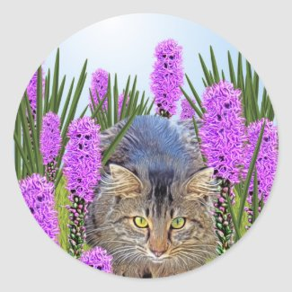 Cat Hiding in Flowers Classic Round Sticker