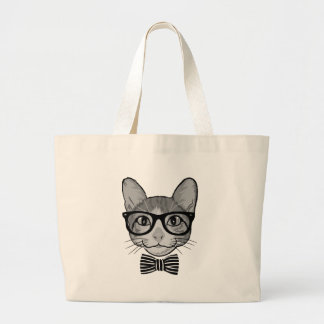 Cat Hipster with Bow Tie Large Tote Bag