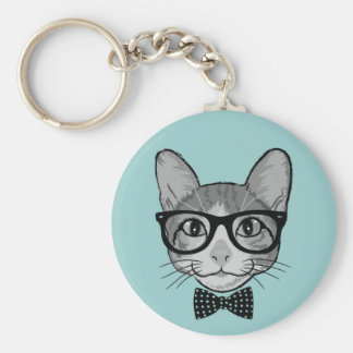 Cat Hipster with Polka Dots Bow Tie Basic Round Button Keychain