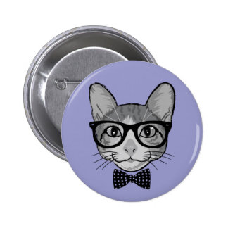 Cat Hipster with Polka Dots Bow Tie Button