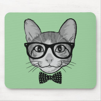 Cat Hipster with Polka Dots Bow Tie Mouse Pad