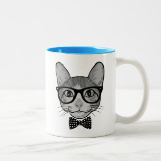 Cat Hipster with Polka Dots Bow Tie Two-Tone Coffee Mug