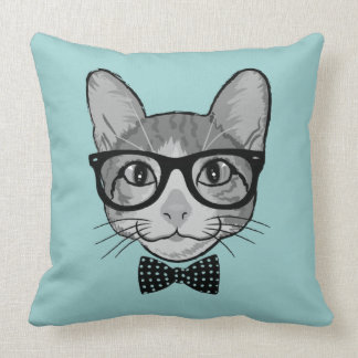 Cat Hipster with Polka Dots Bow Tie Throw Pillow
