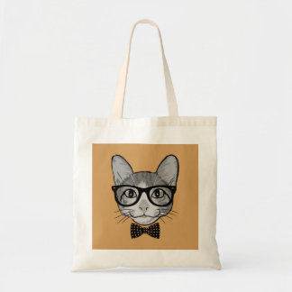 Cat Hipster with Polka Dots Bow Tie Tote Bag