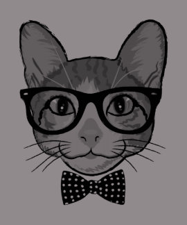 Cat Hipster with Polka Dots Bow Tie Tshirt