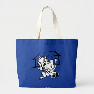 Cat holding a shotgun jumbo tote bag