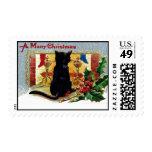 Cat Holly Chimney Stocking Christmas Postage Stamp