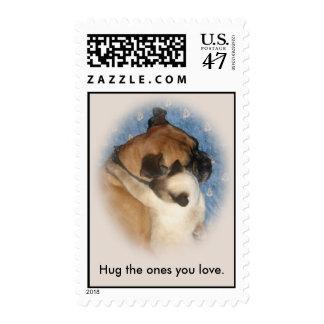 Cat Hugging Dog Postage Stamp