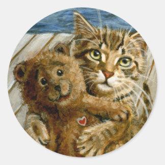 Cat hugging stuffed toy Sticker