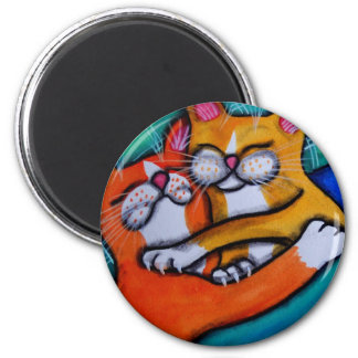 Cat Hugs 2 Inch Round Magnet