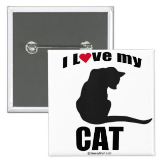 """CAT - """"I LOVE MY CAT"""" 2 INCH SQUARE BUTTON"""