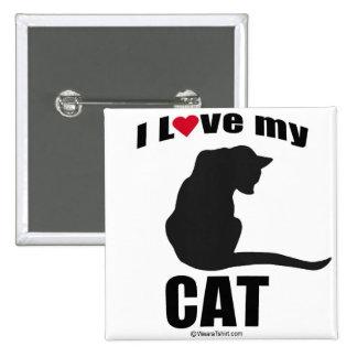 """CAT - """"I LOVE MY CAT"""" PINBACK BUTTON"""
