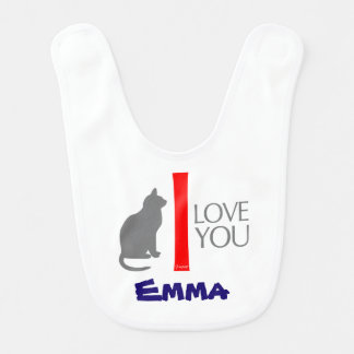 Cat + I Love You ''YOUR NAME'' Custom by VIMAGO Bib