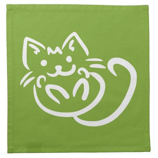 Cat Illustration custom color cloth napkins
