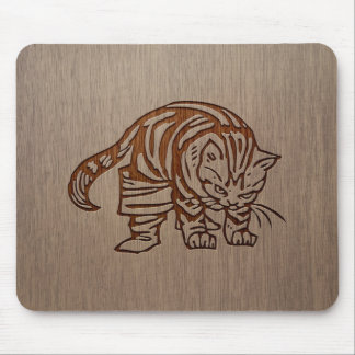 Cat illustration engraved on wood design mouse pad