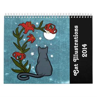 Cat Illustrations 2014 Calendar