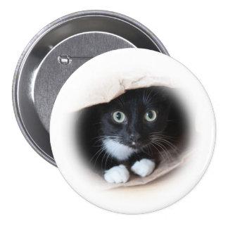 Cat in a b ag pinback button