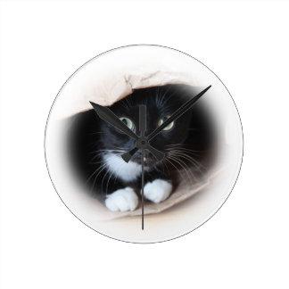 Cat in a bag wall clocks