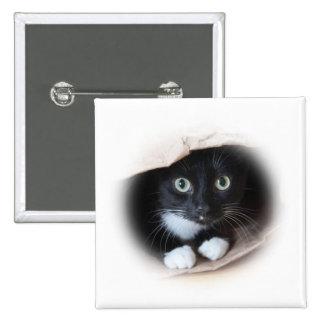 Cat in a bag pinback button